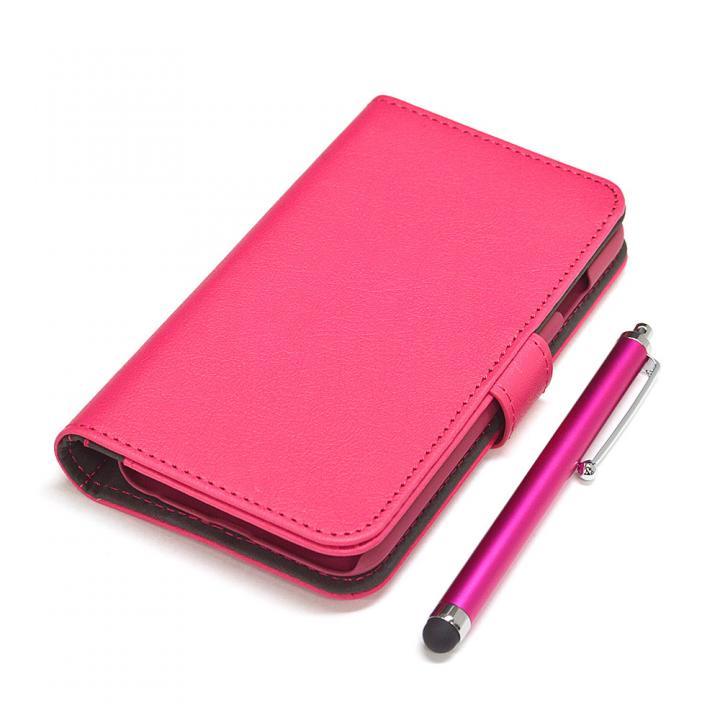 【iPhone6ケース】手帳型合皮ケース タッチペン付 マゼンタ iPhone 6_0