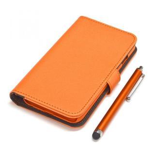 手帳型合皮ケース タッチペン付 オレンジ iPhone 6s/6