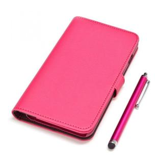 手帳型合皮ケース タッチペン付 マゼンタ iPhone 6 Plus