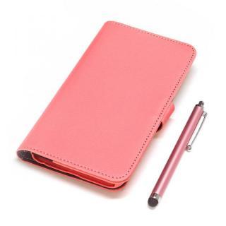 手帳型合皮ケース タッチペン付 ピンク iPhone 6 Plus