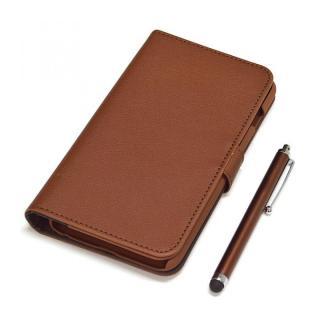 手帳型合皮ケース タッチペン付 ブラウン iPhone 6 Plus