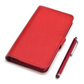 手帳型合皮ケース タッチペン付 レッド iPhone 6s Plus/6 Plus