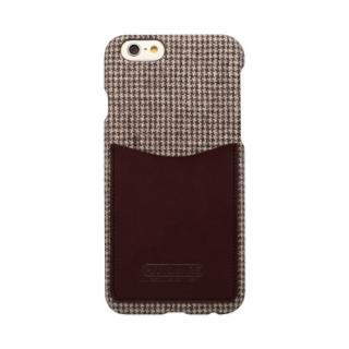 【iPhone6 ケース】HANSMARE レザーポケットケース ハウンドトゥース ブラウン iPhone 6s/6