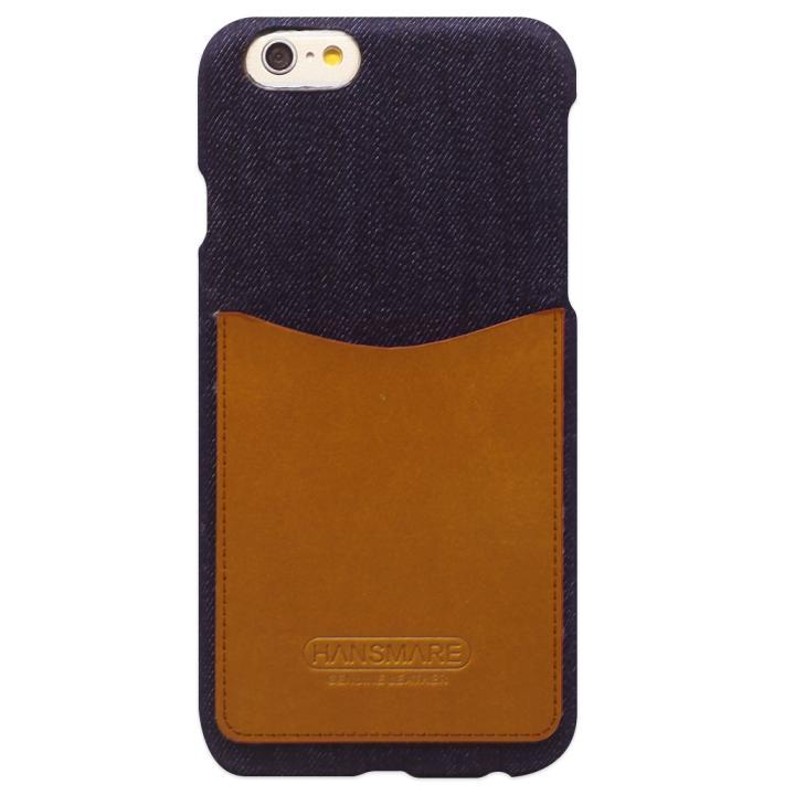 【iPhone6s/6ケース】HANSMARE レザーポケットケース ジーンズ キャメル iPhone 6s/6_0