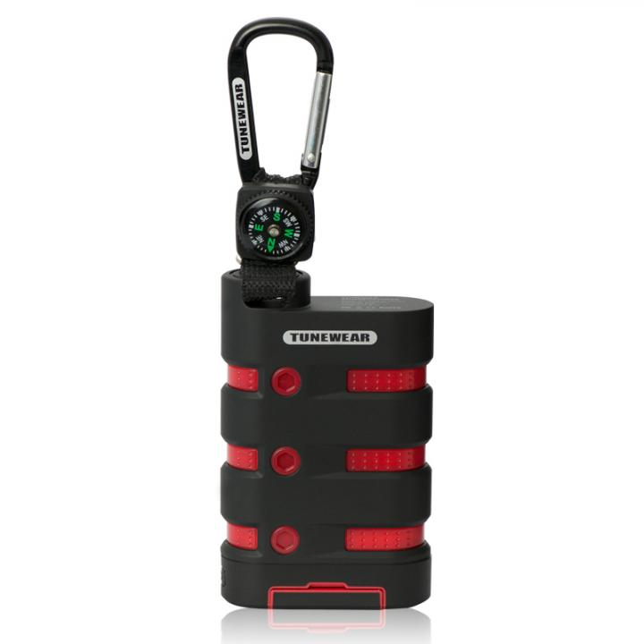 [9000mAh]防水・防塵モバイルバッテリー TUNEWEAR TUNEMAX RUGGEDPOWER ブラック/レッド