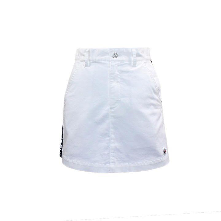 ロゴライン入り チノストレッチ ミニスカート Sサイズ ホワイト_0