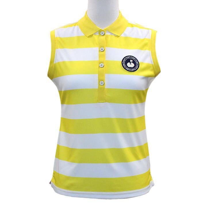 ボーダープリント ノースリーブ カノコ ポロシャツ Sサイズ ホワイト+イエロー_0