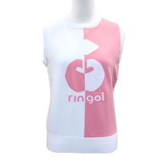 バイカラー リンゴル ニットベスト Sサイズ ホワイト+ピンク