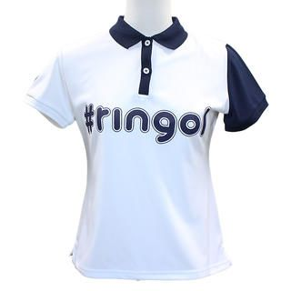 ハッシュタグ プリント 半袖 カノコ ポロシャツ Mサイズ ホワイト+ネイビー