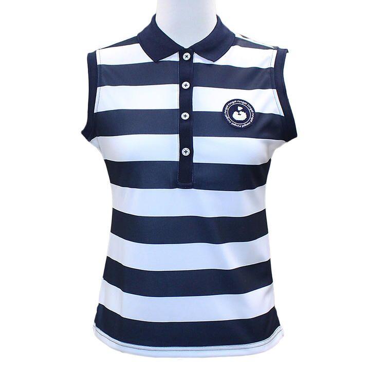 ボーダープリント ノースリーブ カノコ ポロシャツ Sサイズ ホワイト+ネイビー_0