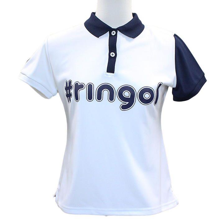 ハッシュタグ プリント 半袖 カノコ ポロシャツ Sサイズ ホワイト+ネイビー_0