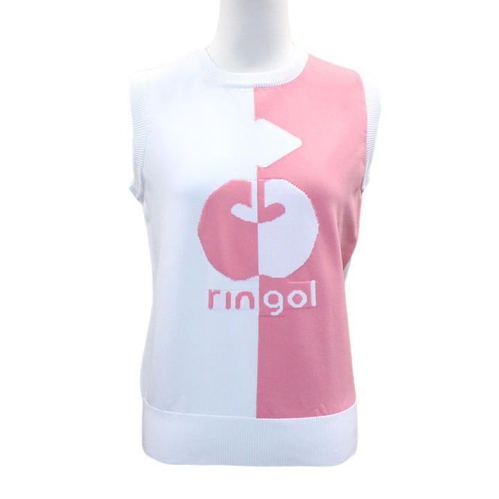バイカラー リンゴル ニットベスト Mサイズ ホワイト+ピンク_0