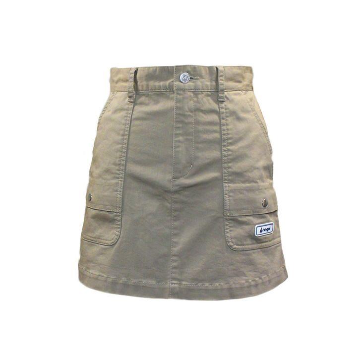 ハッシュタグ プリント チノストレッチ ミニスカート Sサイズ ベージュ_0