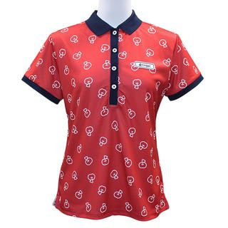 リンゴル ソウガラ 半袖 カノコ ポロシャツ Sサイズ レッド