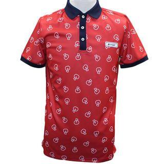 リンゴル ソウガラ 半袖 カノコ ポロシャツ Mサイズ レッド