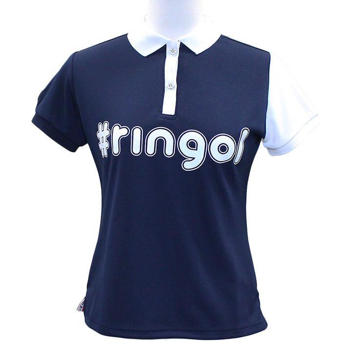 ハッシュタグ プリント 半袖 カノコ ポロシャツ Mサイズ ネイビー+ホワイト_0