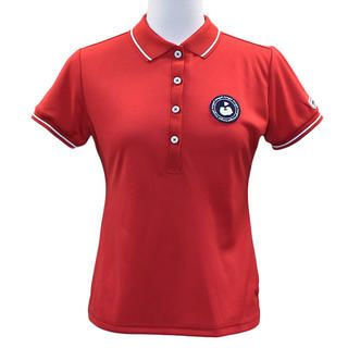 エリプリント 半袖 カノコ ポロシャツ Mサイズ レッド