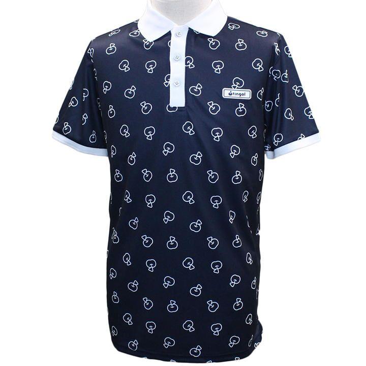 リンゴル ソウガラ 半袖 カノコ ポロシャツ Mサイズ ネイビー_0