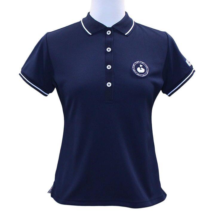 エリプリント 半袖 カノコ ポロシャツ Sサイズ ネイビー_0
