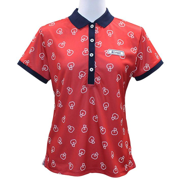 リンゴル ソウガラ 半袖 カノコ ポロシャツ Mサイズ レッド_0