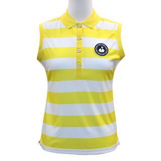 ボーダープリント ノースリーブ カノコ ポロシャツ Sサイズ ホワイト+イエロー