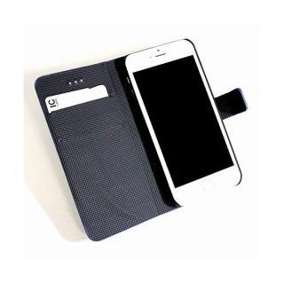 【iPhone6 Plusケース】ボーダー手帳型レザーケース ブラック×ベージュ iPhone 6 Plusケース_1