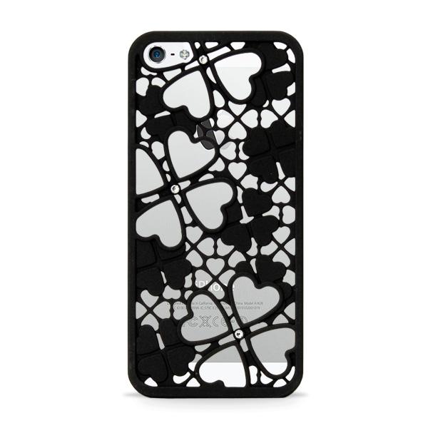 inCUTOUT  切り絵スタイルのiPhone SE/5s/5ケース 3Dクローバー&ハート ブラック