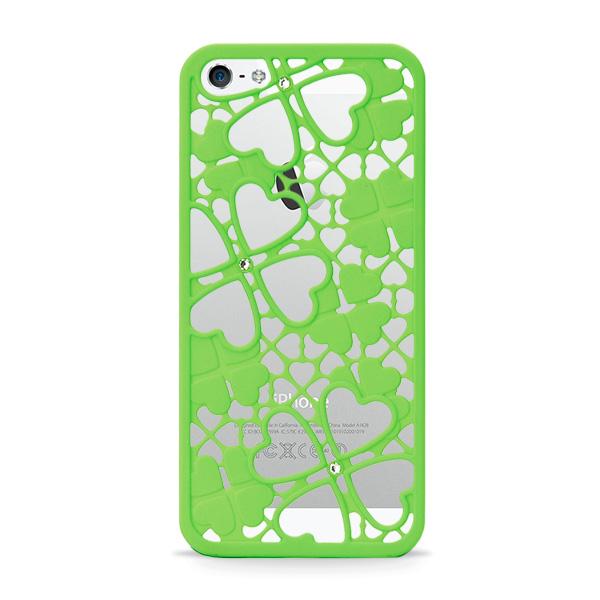 iPhone SE/5s/5 ケース inCUTOUT  切り絵スタイルのiPhone SE/5s/5ケース 3Dクローバー&ハート グリーン_0