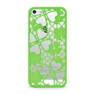 inCUTOUT  切り絵スタイルのiPhone SE/5s/5ケース 3Dクローバー&ハート グリーン