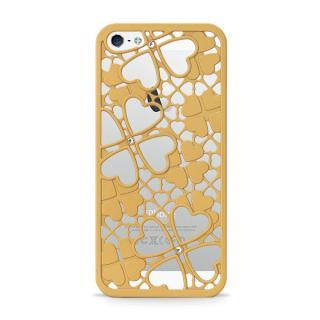 inCUTOUT  切り絵スタイルのiPhone SE/5s/5ケース 3Dクローバー&ハート ゴールド