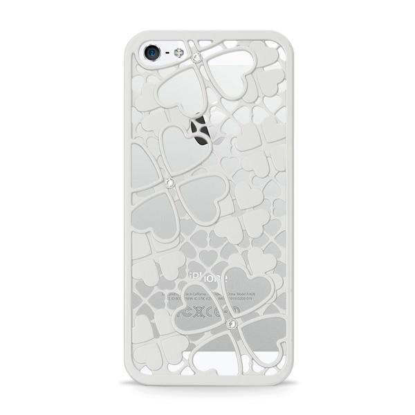 【iPhone SE/5s/5ケース】inCUTOUT  切り絵スタイルのiPhone SE/5s/5ケース 3Dクローバー&ハート シルバー_0