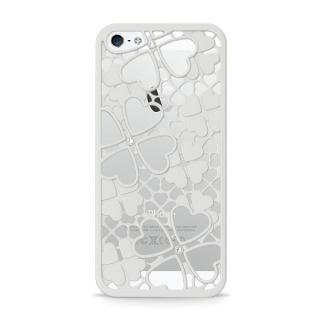 inCUTOUT  切り絵スタイルのiPhone SE/5s/5ケース 3Dクローバー&ハート シルバー