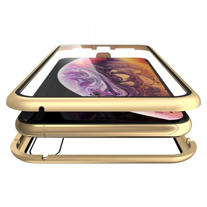 iPhone XS Max ケース Monolith Alluminio(モノリス アルミニオ)/ゴールド 両面強化ガラス+アルミバンパー for iPhone XS Max_0