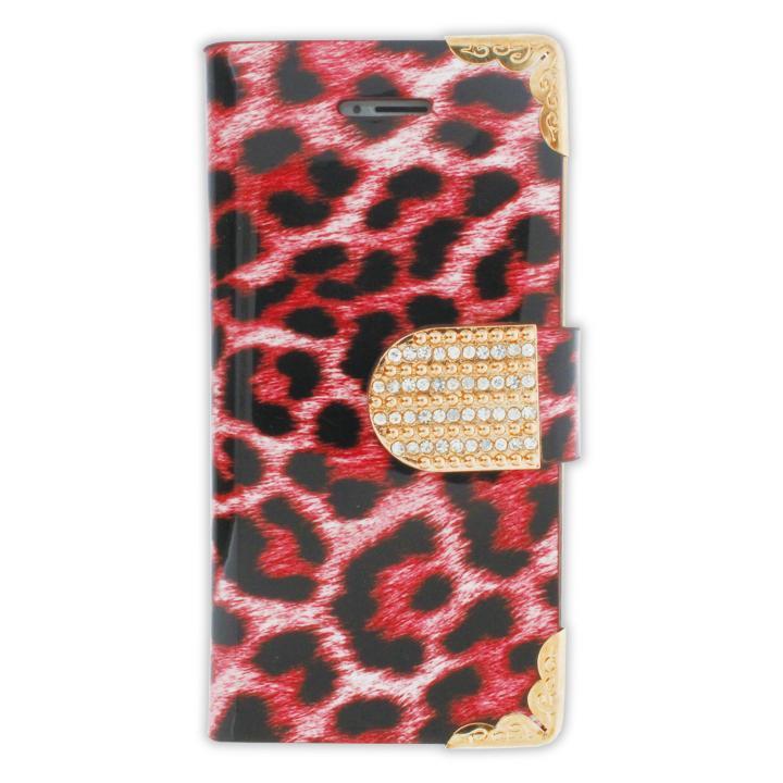 【iPhone SE/5s/5ケース】iPhone SE/5s/5 フリップカードイン手帳型ケース ヒョウ柄 ピンク_0