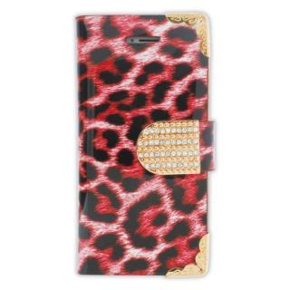 iPhone SE/5s/5 フリップカードイン手帳型ケース ヒョウ柄 ピンク