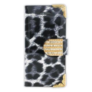 iPhone SE/5s/5 フリップカードイン手帳型ケース ヒョウ柄 グレイ