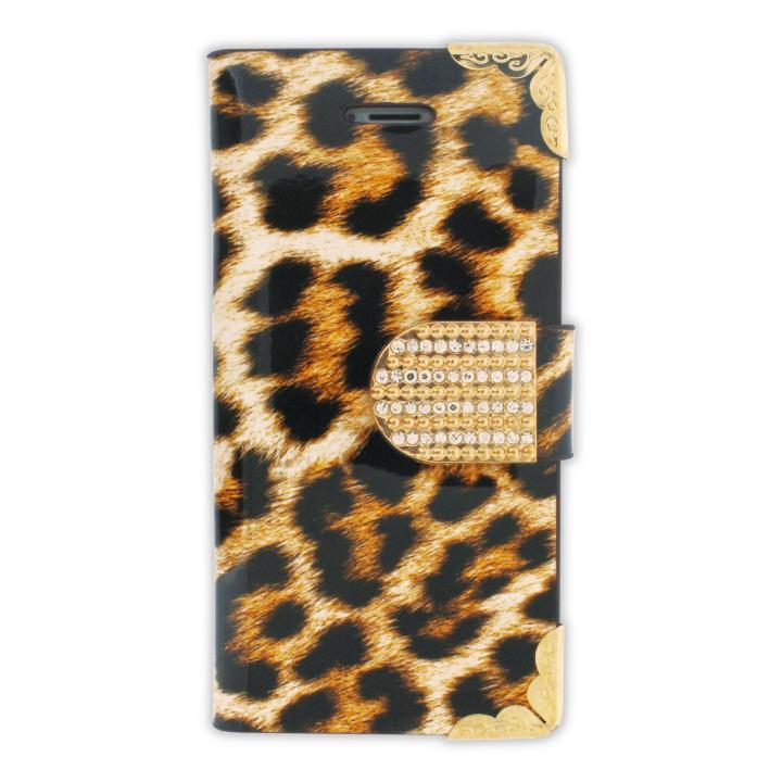 iPhone SE/5s/5 フリップカードイン手帳型ケース ヒョウ柄 ゴールド