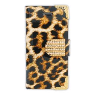 【iPhone SE/5s/5ケース】iPhone SE/5s/5 フリップカードイン手帳型ケース ヒョウ柄 ゴールド