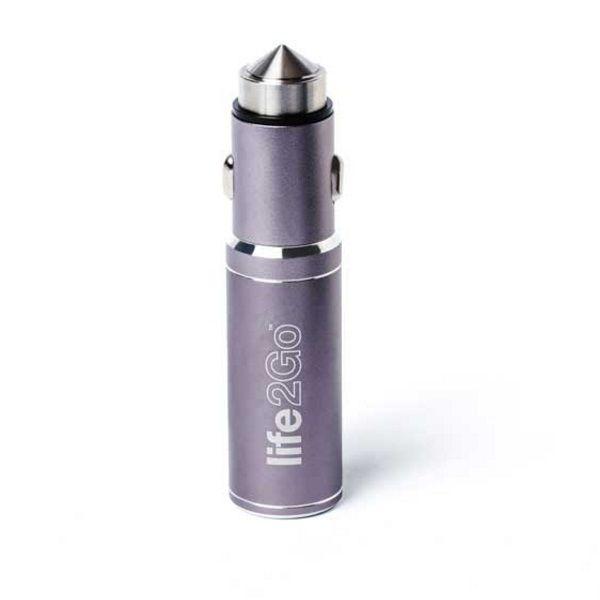 バッテリー内蔵USBカーチャージャー Life2Go シルバーグレー
