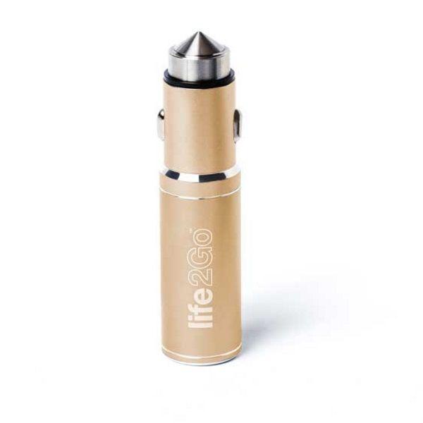 バッテリー内蔵USBカーチャージャー Life2Go イエローゴールド
