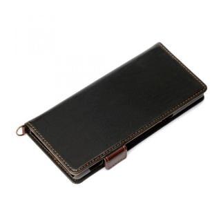 Xperia 5用 フリップカバー PUレザーダメージ加工 ブラック
