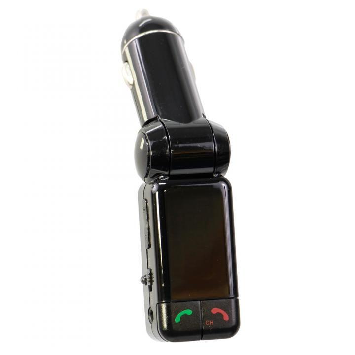 ワイヤレスFMトランスミッター 12V車専用 USBx2 通話マイク LINE INポート付 ブラック_0