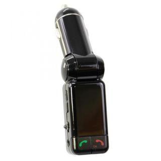 ワイヤレスFMトランスミッター 12V車専用 USBx2 通話マイク LINE INポート付 ブラック