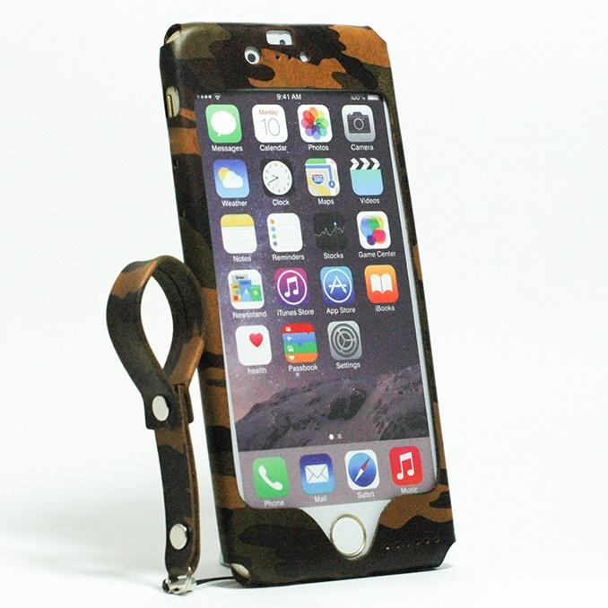 【iPhone6ケース】本革一枚で包み込むケース mobakawa レザーストラップ付き ヌメ カモフラージュ iPhone 6_0