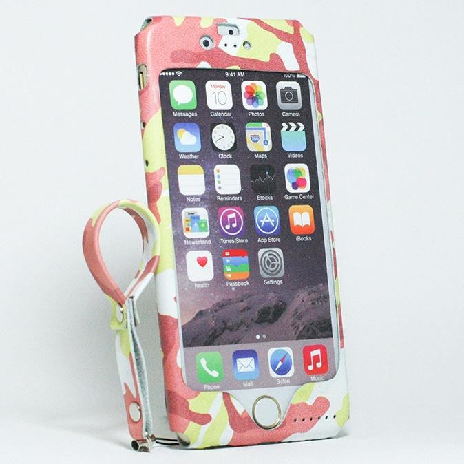 【iPhone6ケース】本革一枚で包み込むケース mobakawa レザーストラップ付き レッドカモフラージュ iPhone 6_0