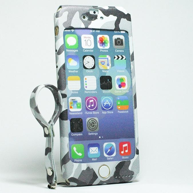 iPhone6s/6 ケース 本革一枚で包み込むケース mobakawa レザーストラップ付き ホワイトカモフラージュ iPhone 6s/6_0