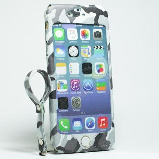 【iPhone6s/6ケース】本革一枚で包み込むケース mobakawa レザーストラップ付き ホワイトカモフラージュ iPhone 6s/6