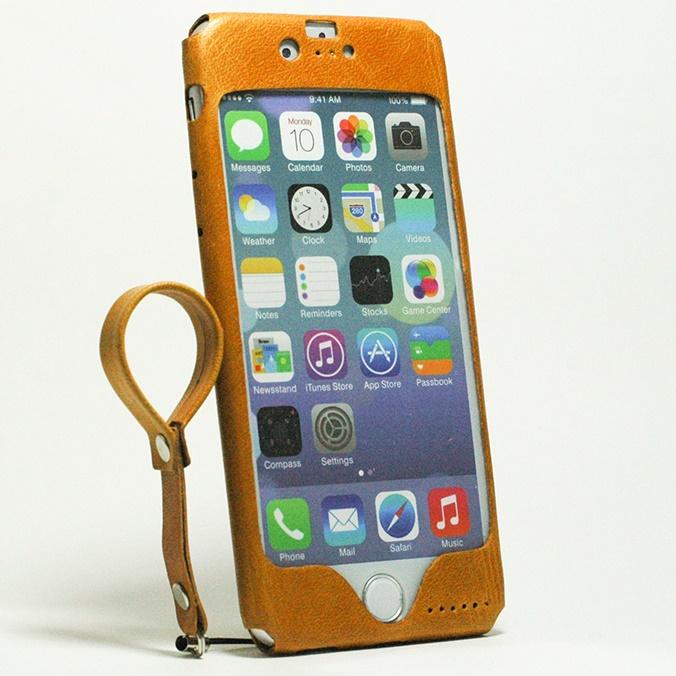 本革一枚で包み込むケース mobakawa レザーストラップ付き イタリアンホース ナチュラル iPhone 6
