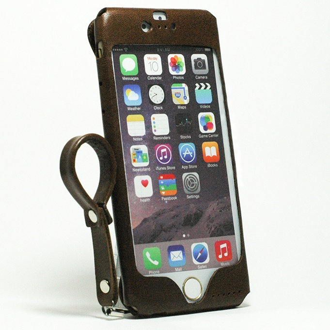 【iPhone6s/6ケース】本革一枚で包み込むケース mobakawa レザーストラップ付き イタリアンホース ダークブラウン iPhone 6s/6_0