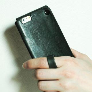 【iPhone6ケース】本革一枚で包み込むケース mobakawa レザーストラップ付き イタリアンホース カーキ iPhone 6_2